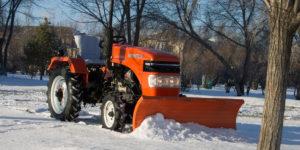 Уборка снега с помощью минитрактора